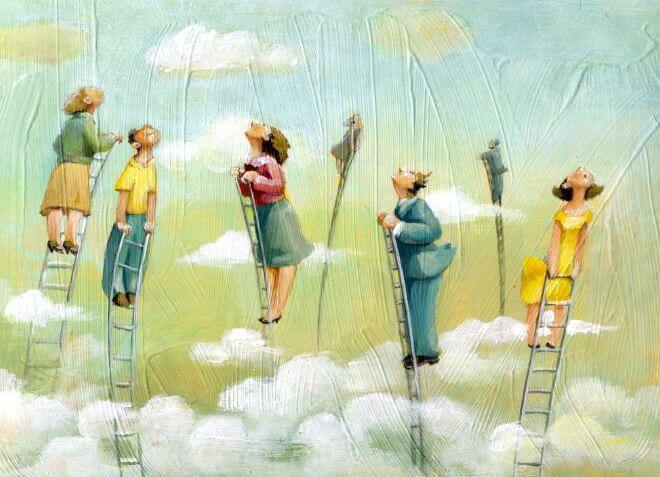 persone scale cielo